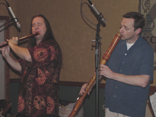 Mark Holland, flute and Cornell Kinderknecht, bass recorder. November 18, 2005, Armadillo Flute Society Retreat, Flower Mound, Texas