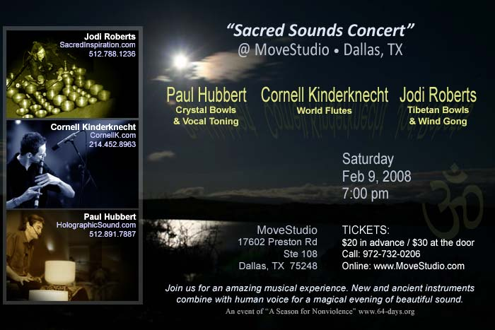 Cornell Kinderknecht, Paul Hubbert and Jodi Roberts, World Flutes, Crystal Bowls and Tibetan Bowls Concert - Dallas, Texas