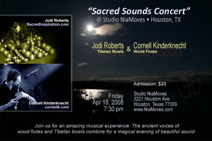 Cornell Kinderknecht (World Flutes), Jodi Roberts (Tibetan Bowls), Concert at Studio NiaMoves - Houston, Texas