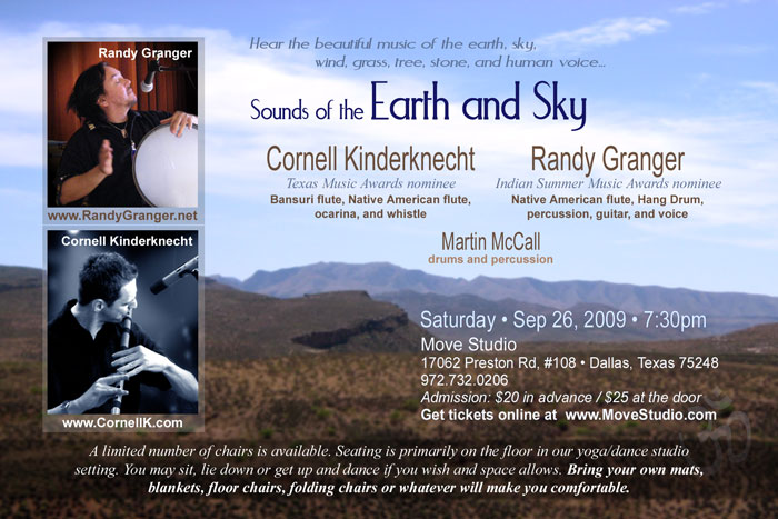 Sounds of the Earth and Sky Concert with Cornell Kinderknecht and Randy Granger - Sep 26, 2009 - Dallas, Texas