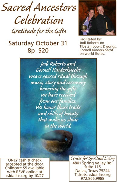 Sacred Ancestor Celebration - Oct 31, 2009 - Jodi Roberts and Cornell Kinderknecht