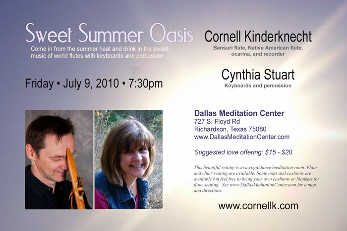 Sweet Summer Oasis Concert, Cornell Kinderknecht and Cynthia Stuart with Martin McCall - July 9, 2010 - Richardson/Dallas, Texas