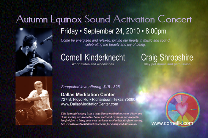Autumn Equinox Sound Activation Concert, Cornell Kinderknecht and Craig Shropshire - September 24, 2010 - Richardson/Dallas, Texas