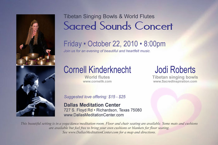 Sacred Sounds Concert, Cornell Kinderknecht and Jodi Roberts - October 22, 2010 - Richardson/Dallas, Texas