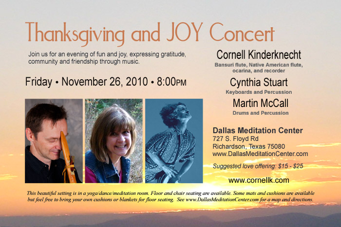 Thanksgiving and JOY Concert, Sound Oasis: Cornell Kinderknecht, Cynthia Stuart and Martin McCall - November 26, 2010 - Richardson/Dallas, Texas