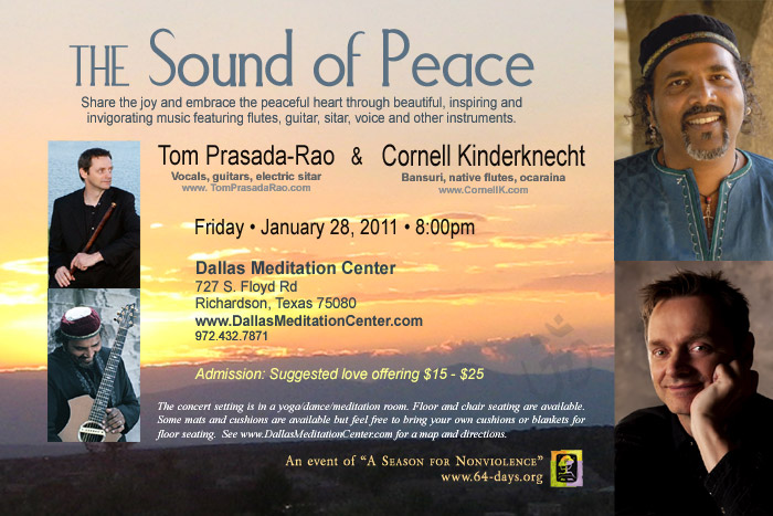 The Sound of Peace Concert, Tom Prasada-Rao and Cornell Kinderknecht, January 28, 2011, Richardson/Dallas, Texas