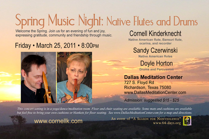 Spring Music Night: Native Flute and Drums. Cornell Kinderknecht, Sandy Czerwinski and Doyle Horton - March 25, 2011 - Richardson/Dallas, Texas