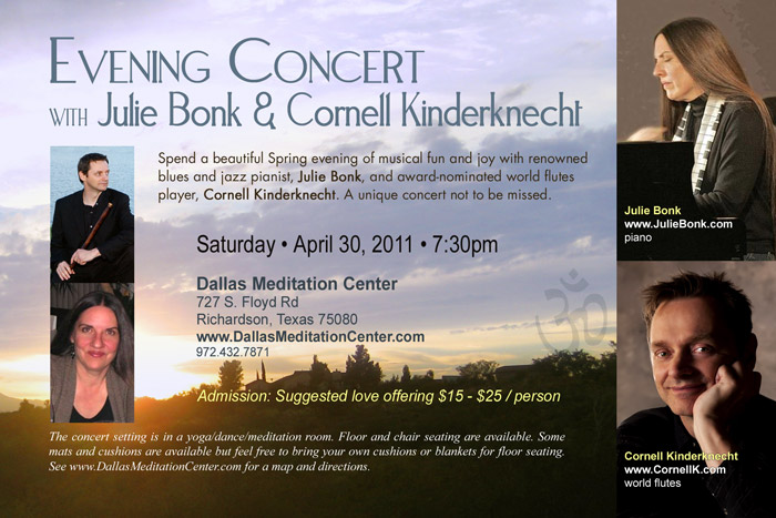 Evening Concert with Julie Bonk and Cornell Kinderknecht - April 30, 2011 - Richardson/Dallas, Texas
