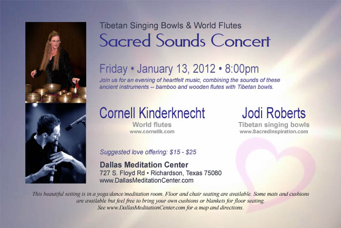 Sacred Sounds Concert, Cornell Kinderknecht and Jodi Roberts - January 13, 2012 - Richardson/Dallas, Texas