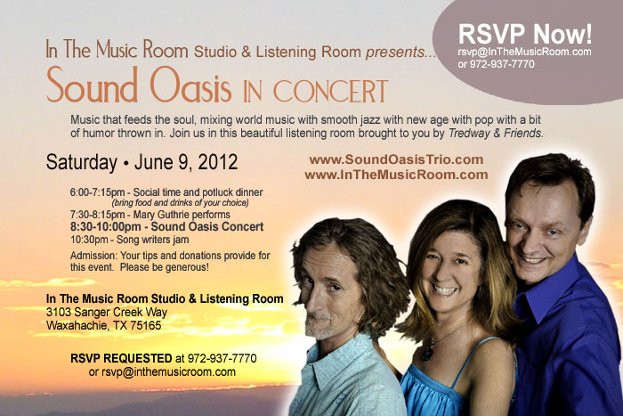 Sound Oasis: Cornell Kinderknecht, Cynthia Stuart and Martin McCall - June 6, 2012 - Waxahachie, Texas