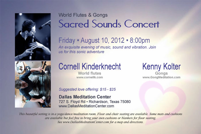 Sacred Sounds Concert, Cornell Kinderknecht and Kenny Kolter - August 10, 2012 - Richardson/Dallas, Texas