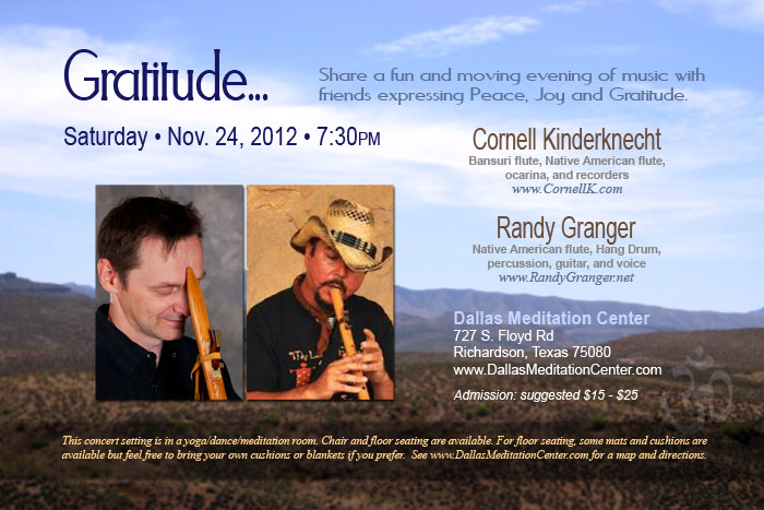 Gratitude Concert, Cornell Kinderknecht and Randy Granger - November 24, 2012 - Richardson/Dallas, Texas