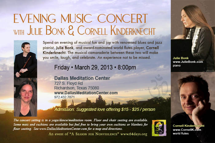 Evening Concert with Julie Bonk and Cornell Kinderknecht - March 29, 2013 - Richardson/Dallas, Texas