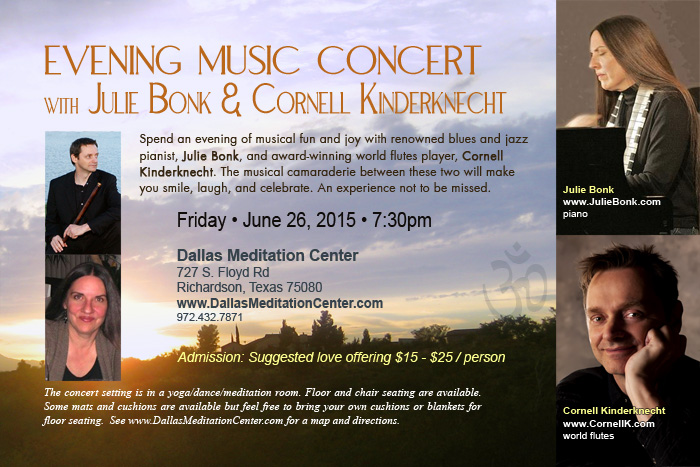 Evening Concert with Julie Bonk and Cornell Kinderknecht - June 26, 2015 - Richardson/Dallas, Texas